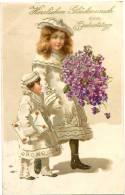 Geburtstag, Kinder Mit Blumen, 1906 - Cumpleaños