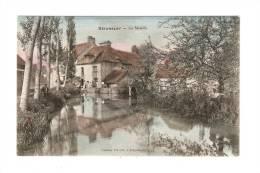 CPA : 89 - Yonne : Seignelay : Le Moulin : Bâtiments - Cours D'Eau - Animation ( Pêcheur ) Vue Peu Commune  Colorisée - Seignelay
