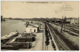 94-VILLENEUVE-Saint-GEORG ES-  La Gare-et Le Port-Péniches - Villeneuve Saint Georges