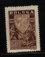 POLAND 1946 25TH ANNIVERSARY OF THE 3RD SILESIAN INSURRECTION & WW2 COMMEMORATION NHM Polish Army Germany Soldiers War - 2. Weltkrieg