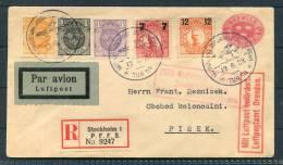 1929 Sweden Stockholm - Amsterdam Registered Flight Stationery Cover Berlin Dresden