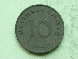 1942 F - 10 REICHSPFENNIG / KM 101 ( For Grade, Please See Photo ) ! - 10 Reichspfennig