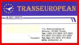TRANSEUROPEAN. Airline. Moscow. Russia - Publicidad