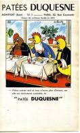 PUBLICITE SUR PAPIER 21,2/12,5 CM  PATEES DUQUESNE A MONTFORT (EURE) - Werbung