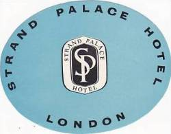 ENGLAND LONDON STRAND PALACE HOTEL VINTAGE LUGGAGE LABEL - Hotel Labels