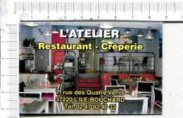 L324 -  Carton  Publicitaire  -  L ATELIER -  Restaurant - Crêperie  -  L ILE BOUCHARD - Publicidad (Avisos)