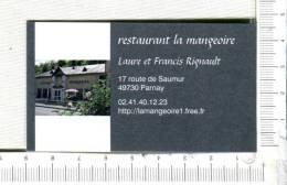 L324 -  Carton  Publicitaire  -  LA MANGEOIRE  -  Restaurant    - PARNAY - Publicidad (Avisos)