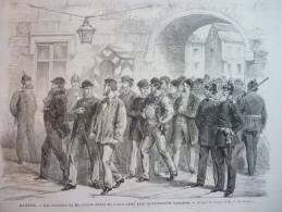 Alsace , Les Ouvriers De Mulhouse Allant Opter Pour La Nationalité Française , Gravure Daudenarde Dessin Lix 1872 - Documents Historiques