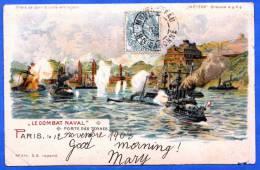 """MARINE """"LE COMBAT NAVAL"""" PORTE DES TERNES, Litho 1903 - Krieg"""