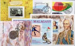 Topics 6 Blocs Madagaskar O 16€ Washington Schnecke Eistanz Lok Auto M/s Sport Ship Bloc Fauna Nature Sheet Bf Malagasya - Stamps