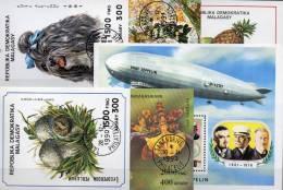Topics 6 Blocs Madagascar O 17€ Obstkorb Hunde Pilze Sport Zeppelin Bloc Birds Fauna Nature Orchideen Sheet Bf Malagasya - Stamps