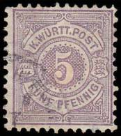 Wurttemberg Scott #58, 5pf Violet (1875) Numeral Of Value, Used - Wurtemberg