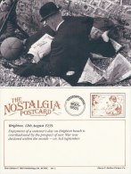 Postcard Brighton Beach 1939 Prospect Of War WW2 Nostalgia Bowler Hat Newspaper - History