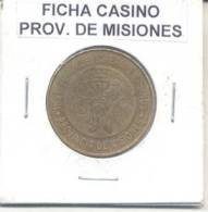 INSTITUTO PROVINCIAL DE LOTERIA Y CASINOS - PROVINCIA DE MISIONES L'ARGENTINE FICHA CIRCA 1970 - Casino