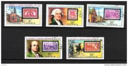 Libéria, Timbre Sur Timbre, Stamp On Stamp, USA, Washington, Franklin, Cloche, Bell, Perruque - Briefmarken Auf Briefmarken