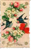 Support Carte Dentelé - Chromos Fleurs Et Hirondelles Messagères - Anniversaire Embossé - Nœud En Ruban - Anniversaire
