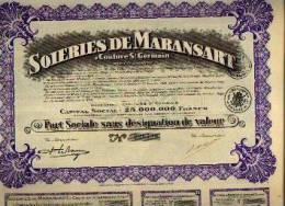 COUTURE SAINT GERMAIN) « Soiries De MARANSART » - Part Sociale (1928) - Textiel