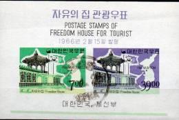 Frieden-Haus 1966 Flagge Korea Block 223 O 22€ Tourismus Landkarte Bf M/s Flag Map Bloc Architectur Sheet Of South-Corea - Korea, South