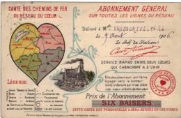 Carte Chemins De Fer Reseau Du Coeur De 1906 Editeur Preaux Ghlin Lez Mons - Otros