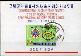 Sportschule 1966 Emblem Korea Block 236 O 5€ CISM Stadion-Symbol Bf M/s Military Bloc Sport Council Sheet Of South-Corea - Korea, South