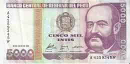 BILLETE DE PERU DE 5000 INTIS DEL  AÑO 1988  (BANKNOTE) - Pérou