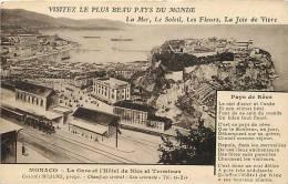 Depts Div- Monaco- Ref G721-la Gare Ligne De Chemin De Fer Et L Hotel De Nice Et Terminus    -carte Bon Etat  - - Non Classés