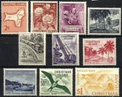 CHRISTMAS ISLAND SCENIC VIEWS BIRD BIRDS TRAIN MARINE LIFE SET OF10 STAMPS 2C TO $1 ISSUED 1963 MLHSG?READ DESCRIPTION!! - Christmas Island