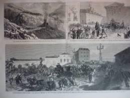 Espagne , Spain ,les événements , Voie Ferrée Irurzun, Prison SanFrancisco , Madrid , Gravure D'aprés Dessin Vierge 1872 - Historische Dokumente