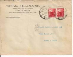 STORIA POSTALE, DEMOCRATICA  LIRE  3+3, COPPIA  LIRE 6 IN TARIFFA SU LETTERA VIAGGIATA 1947  BIELLA /  MOSSO S. MARIA, - 6. 1946-.. Repubblica