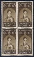 Regno D´Italia - Centenari Di Uomini Illustri (1937) Sass. 426-435 In Quartine ** MNH - Nuovi