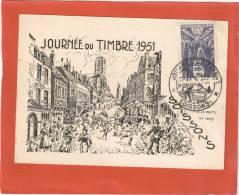 CARTE LOCALE JOURNEE DU TIMBRE 1951 SOISSONS VOYAGEE 10 MARS