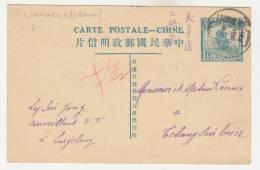 CHINE-Entier Type Jonque 1 1/2 Bleu De LINCHENG Pour TCHANG SIN TIEN 1925 - China