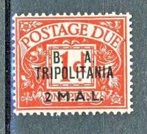 Tripolitania Occupazione Inglese 1950 Tasse GB Soprastampato  B.A. TRIPOLITANIA, N. 7 M 2 Su P 1 Rosso MNH  Cat. € 7,50 - Tripolitaine