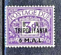 Tripolitania Occupazione Inglese 1950 Tasse GB Soprastampato  B.A. TRIPOLITANIA, N. 9  M 6 Su P 3 Violetto MNH Cat. € 45 - Tripolitaine
