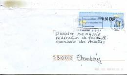 Enveloppe Obliteration Mecanique ( Flammes ) Du 15e Salon Du Livre Les 11-12-10 2003 A Hermillon 73 - Marcophilie (Lettres)