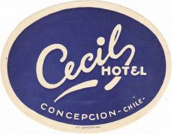 CHILE CONCEPCION HOTEL CECIL VINTAGE LUGGAGE LABEL - Hotel Labels