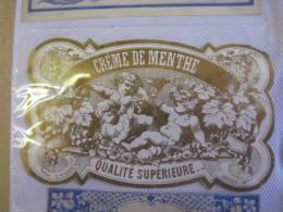 2 Labels  Etiquettes 1870 à 1890  - CREME De Menthe  & ANIS Quailté Sup. PRINTER  NISSOU ,  Pichot - Erotik