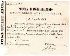 1869  FATTURA   SOCIETA'  D' INCORAGGIAMENTO DLLE BELLE ARTI IN   FIRENZE - Italia