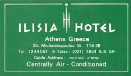 GREECE ATHENS ILISIA HOTEL VINTAGE LUGGAGE LABEL - Hotel Labels