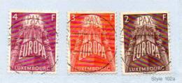 """Luxembourg 1957, Europa, 531 / 533 Oblitérés  """"concours"""" , Cote 47,50 €, - 1957"""