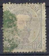 Sello 12 Cts Amadeo 1872, Parrilla Verde, Num 122 º - 1872-73 Reino: Amadeo I