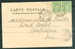 """Yvert N° 106 En Paire  Au Dos D'une Cpa Précurseur  """" Commandant Marchand """" Oblitéré Compiègne En Nov 1899 Am7109 - 1876-1898 Sage (Tipo II)"""
