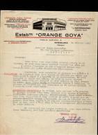 """Entête  21/02/1933  -  BARCELONE -  Etablissements """"  ORANGE  GOYA  """"  Essences Pour Sodas, Limonade - España"""