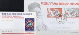 Rotes Kreuz 1963 Korea Block 181+ 252 O 23€ Dunant Weltkarte Zahnarzt-Kongreß Medica Bloc Red Cross Sheet Bf South Corea - Korea, South