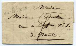 MP 42 PAIMBOEUF / Dept LOIRE INFERIEURE /  40x10 /  Taxe Manuscrite 2 Décimes / Pour Nantes - Marcophilie (Lettres)