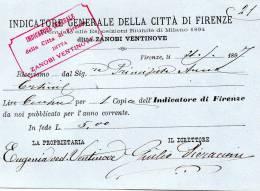 1897  FATTURA INDICATORE GENERALE DELLA CITA' DI FIRENZE - Italia