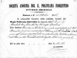 1861 FATTURA SOCIETÀ  ANONIMA DEL R. POLITEAMA  FIORENTINO - Italia