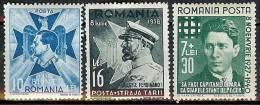 Romania 1938/40 - 3 Unused Stamps Kings And Codreanu - 1918-1948 Ferdinand, Carol II. & Mihai I.