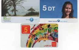 TUNISIE - 3 Télécartes Recharge - Tunisie