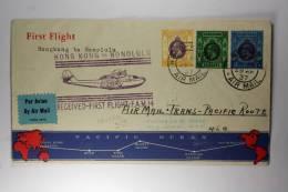 Hong Kong: 1937, Special Airmail Cover First Flight To Honolulu, Mixed Stamps, 30+50c + 1 $, Flight FAM 14 - Hong Kong (...-1997)